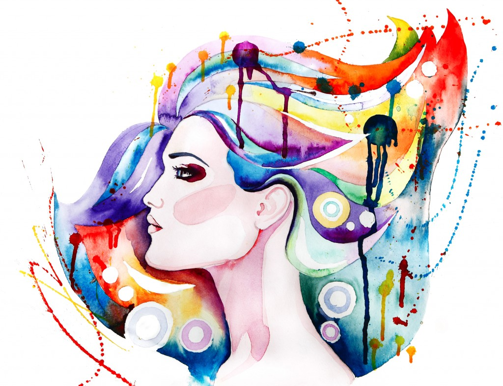 Beautiful young woman with long hair. Creative watercolor art