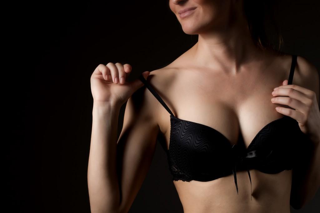 Breast in black bra